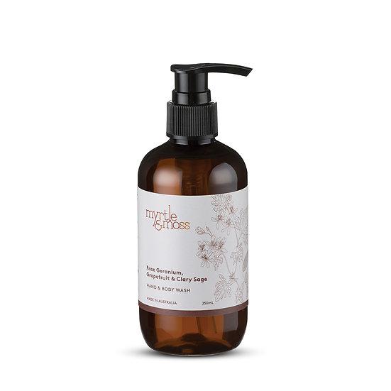 Myrtle & Moss Hand & Body Wash 250mL; Rose Geranium, Grapefruit and Clary Sage