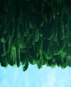 Deep Green Falling on Pale Blue