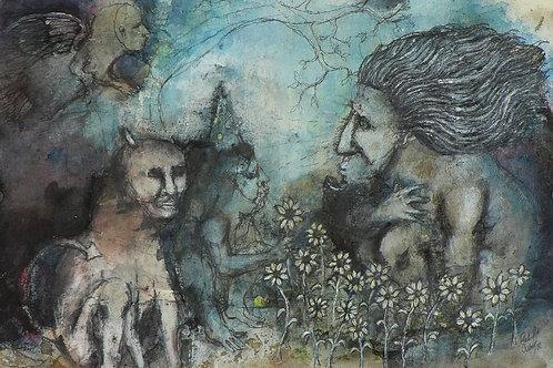 "Original raw art brut Mixed Media Painting on paper - ""A Beast's Ransom"""