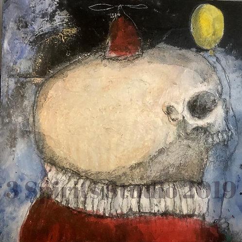 "Original Mixed Media Painting on Panel - ""The Yellow Balloon"""