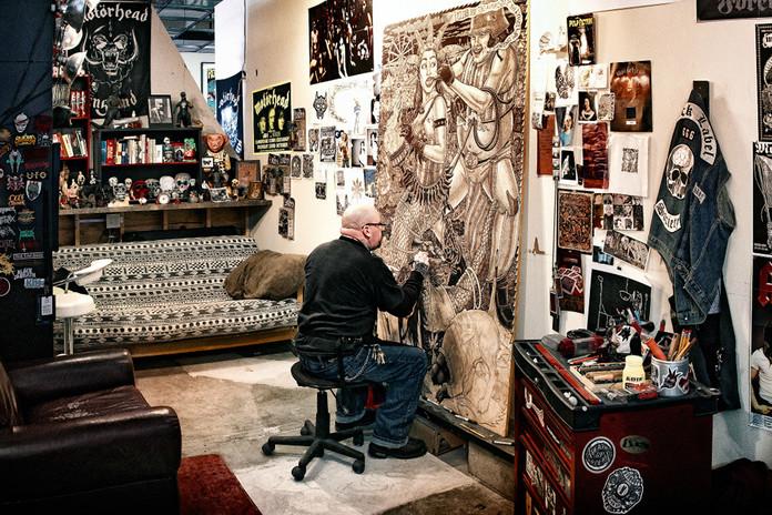 Tom Hück in studio at Peacock