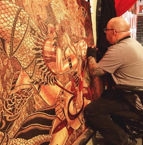 Printmaker Tom Hück at work