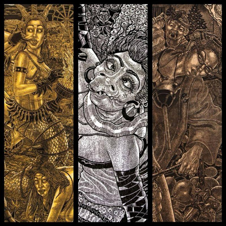 Collage of details from 3 of Tom Hück's large scale woodblock prints