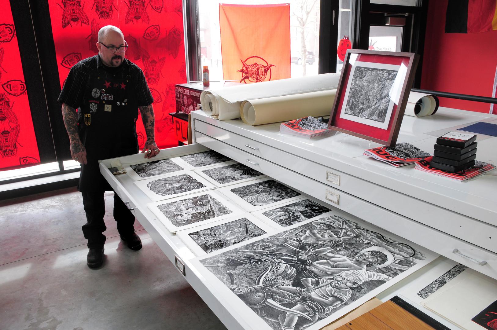 Tom Hück at his Evil Prints HQ