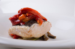 Hake with roasted peppers