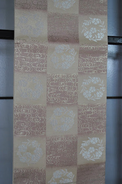 袋帯(夏帯)白格子撫子丸文絽帯