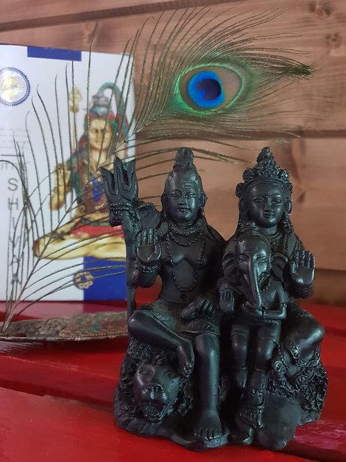 Фигурка Шива, Парвати и Ганеш, индийская керамика в чёрном цвете
