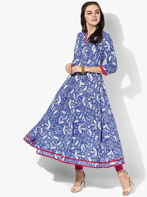 Платье голубое с цветами и вышивкой, S
