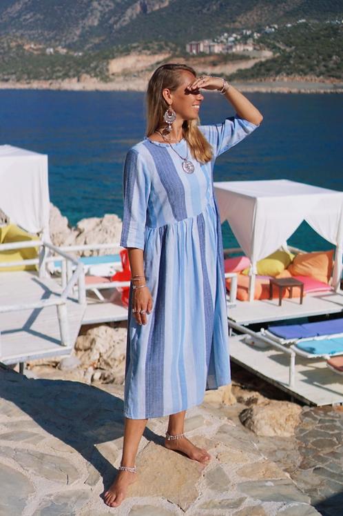 Платье голубое в полоску , L