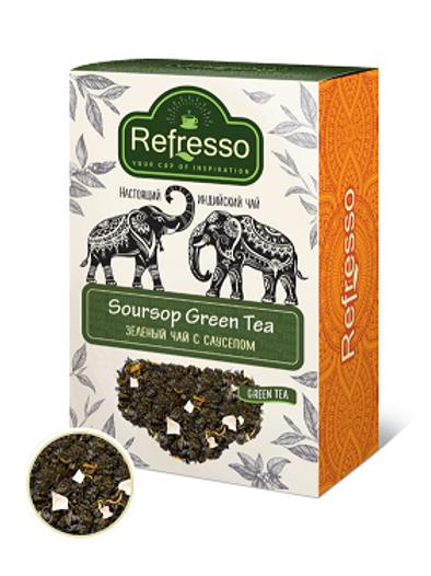 Чай зелёный с саусепом Рефрессо (Refresso Soursop green tea) 100 гр