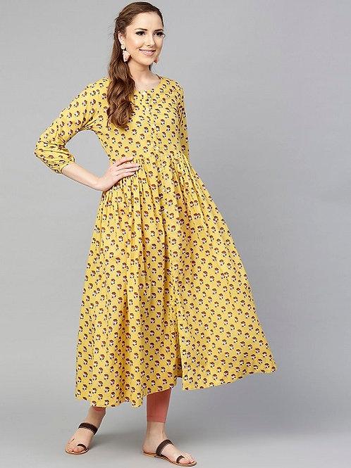Платье жёлтое с цветочным рисунком, М