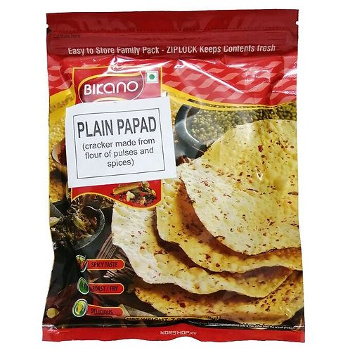 "Лепешки ""Плейн Папад"" из муки бобовых со специями(Plain Papad Bikano), 200 гр"