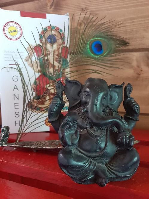 Фигурка Ганеша, индийская керамика в чёрном цвете