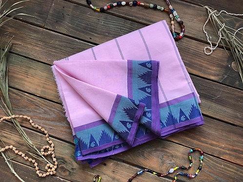 Сари индийское нежного розового цвета с фиолетовой каймой