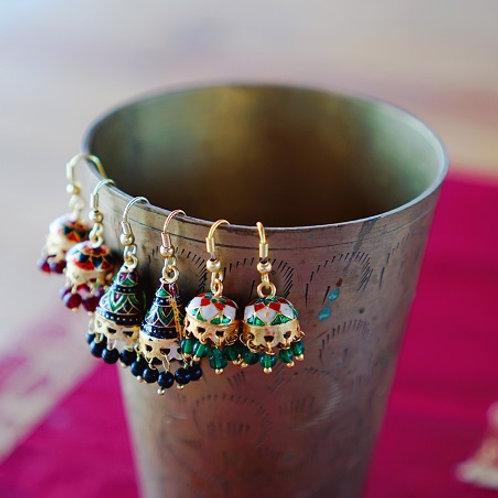 Серьги-джумки миниатюрные с росписью эмалью штат Раджастан