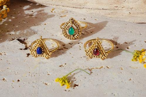 Кольца из латуни с натуральными камнями штат Раджастан