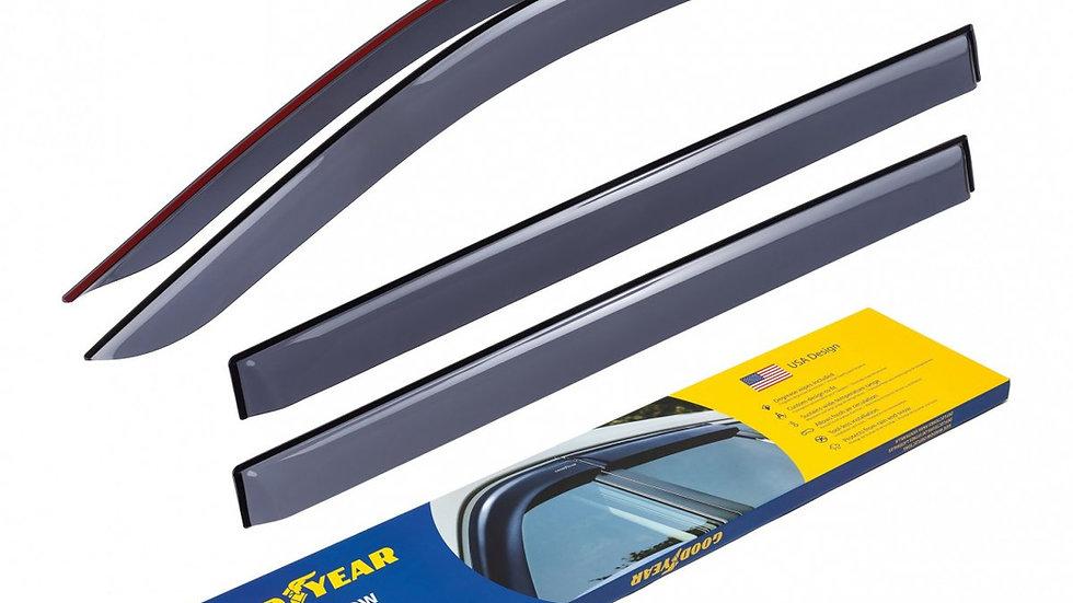 Goodyear Side Window Deflectors for Hyundai Santa fe 19-20, Tape-o