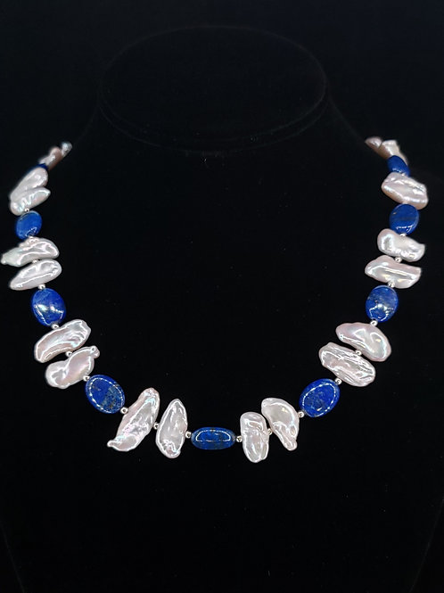 Biwa pearl and lapis necklace