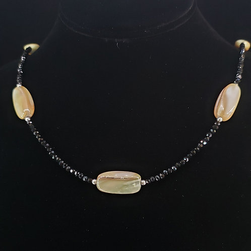Black spinel and shell necklace