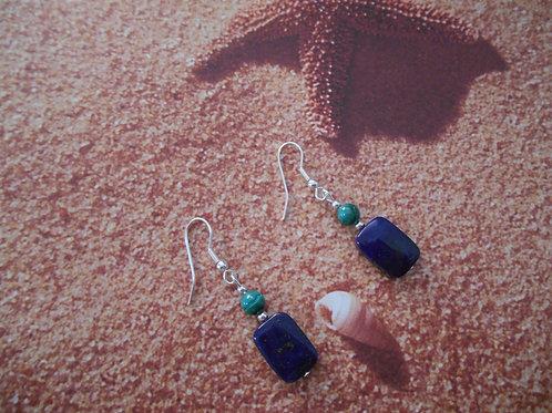 Lapis and Malachite earrings
