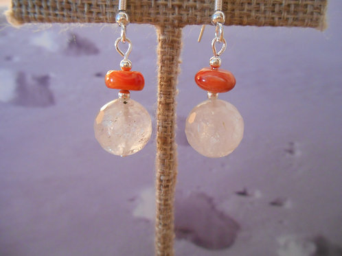 Spiney Oyster and Quartz earrings