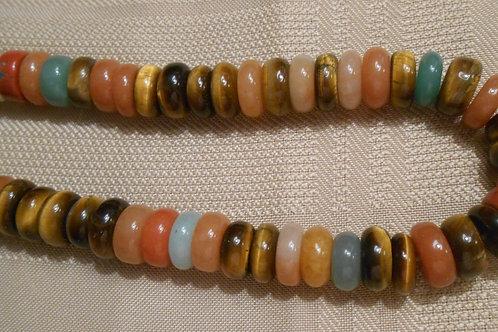 Mixed Stone Rondell Bead Strand
