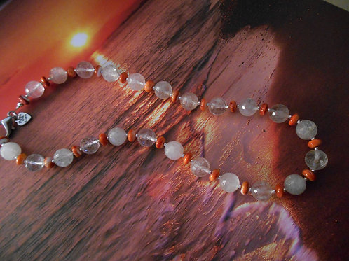 Faceted quartz and spiney oyster necklace
