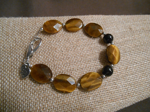 Faceted Tigers Eye and Black Agate Bracelet