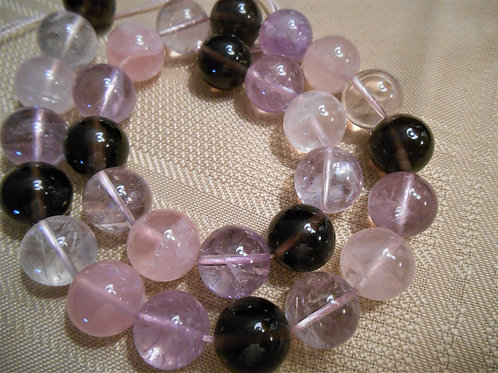 Large Amethyst and Rose Quartz Beads