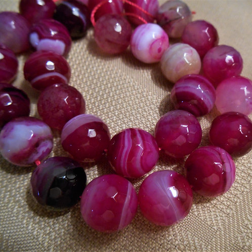 Agate Beads Faceted - Fuschia color