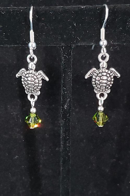 Sea turtle & swarovski earrings