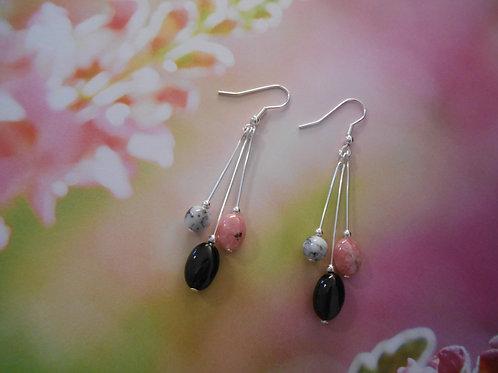 Rhodocrosite, Dendritic Opal, and Agate earrings