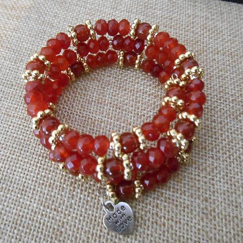 Carnelian - Memory wire bracelet