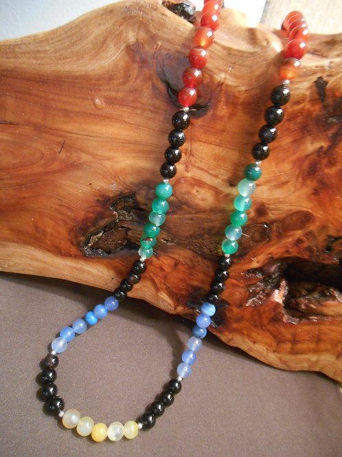 Multi Color Agate Beaded Necklace