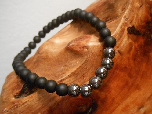 Hematite and Black Agate Stretch Bracelet