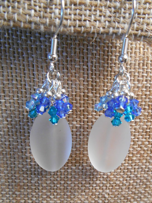 Frosted Glass and Swarovski Earrings