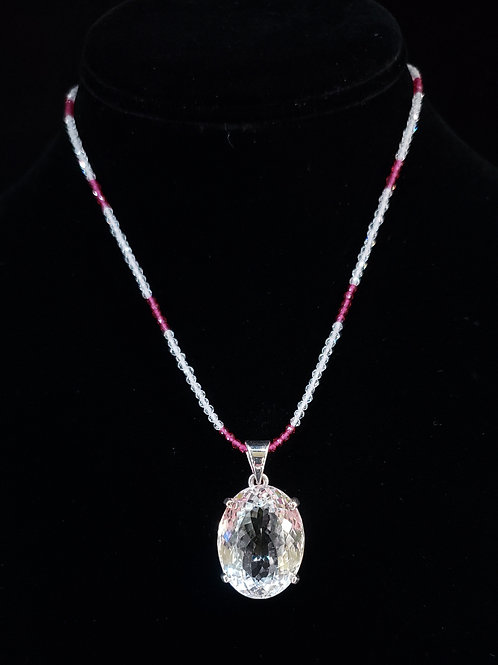 Quartz and garnet necklace
