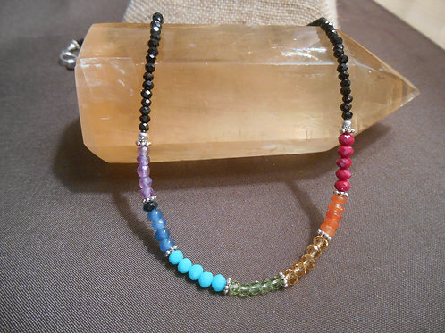 Chakra Necklace with Black Spinel