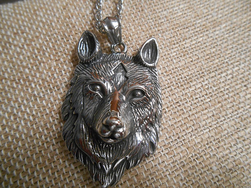Stainless Steel Wolf Pendant and Chain