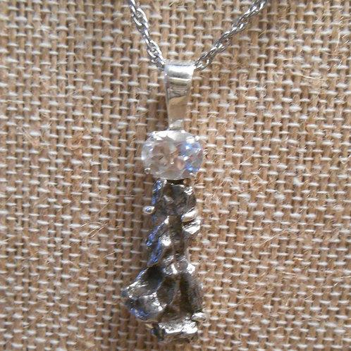 Meteorite and Clear Quartz Pendant