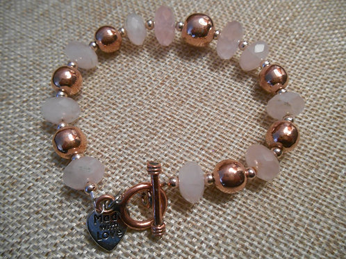 Rose Quartz and Copper Bracelet