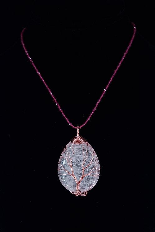 Garnet and rose quartz necklace