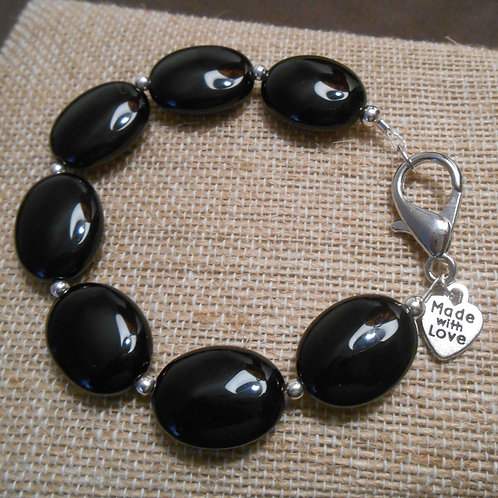 Black Agate Beaded Bracelet