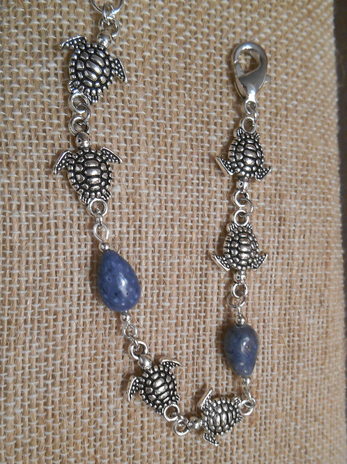 Blue Coral and Sea Turtle Bracelet