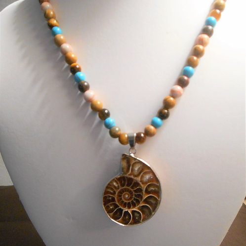 Ammonite Fossil Necklace with Howlite and Jasper
