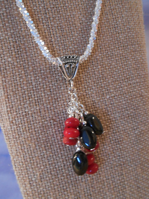 Red Coral and Black Agate cluster pendant