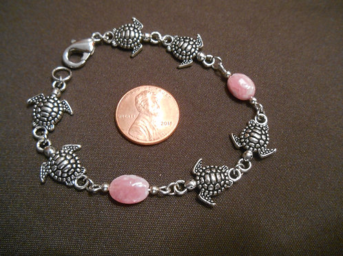 Rhodochrosite and Sea Turtle Bracelet