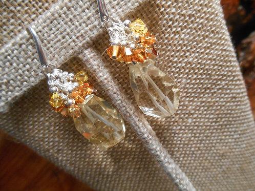 Citrine and Swarovski crystal earrings