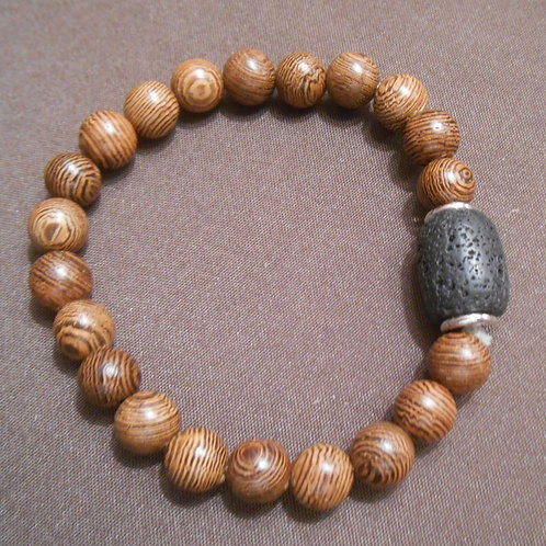Lava Rock and Wooden Bead Stretch Bracelet