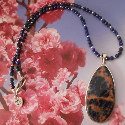 Beaded lapis necklace with sodalite pendant